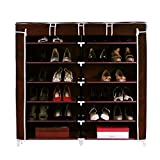 #10: MSE Double Cabinet Shoe Rack _ Shoe Organizer _ Shoe Cabinet _ Large, Covered & Spacious (Size : Length _ 118 X Width _ 30 X Height _ 120 Cm) Brown