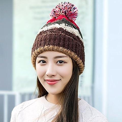 YangR*Sra. Sombrero de invierno moda coreana preciosa más gruesas sin pelusa scurf cap otoño invierno cálido tejer oído hat , café