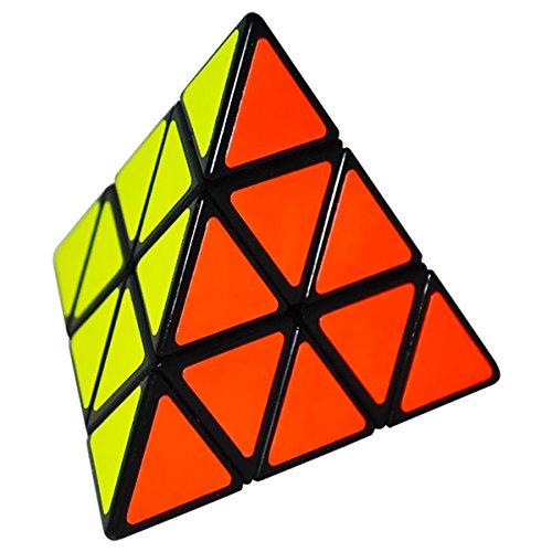 el Pyraminx Speed Cube, Dreieck Pyramid Magic Puzzle Cube Zauber Würfel PVC Aufkleber für Kinder und Erwachsene, Schwarz ()