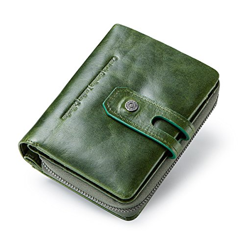 Tri-fold Clutch (Contacts Echtes Leder Damen Trifold Coin Kartenhalter Clutch Reißverschluss Geldbörse Purse Wallet (Grün))