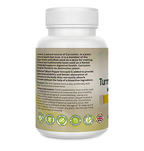 Turmeric Curcumin 2500mg with BioPerine® 180 Vegetarian Vegan Capsules Standardised at 95% Curcumins, High Strength 50:1 Extract Providing the Equivalent of 2500mg of Turmeric Powder, Capsules Not Tablets High Absorption, Small Capsules, Easy To Swallow by Rite Flex