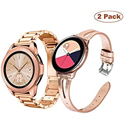 YaYuu Correa de Reloj para Samsung Galaxy Watch Active 40mm/Galaxy Watch 42mm/Gear S2 Classic, 20mm Acero Inoxidable Metal Banda+Cuero Pulsera de Repuesto para Galaxy Watch 42mm SM-810/Gear Sport