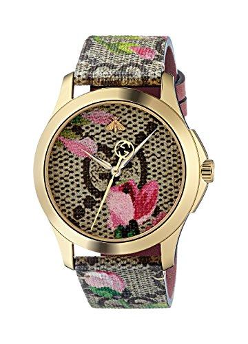 Gucci Damen Datum klassisch Quarz Uhr mit Leder Armband YA1264038