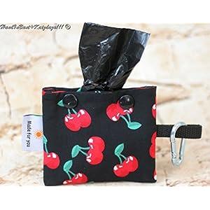 Schicker Kotbeutelspender in Schwarz mit roten Kirschen