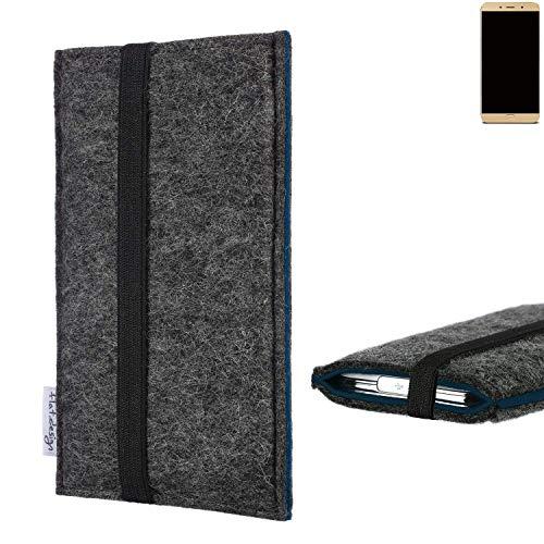 flat.design Handyhülle Lagoa für Allview X4 Soul Lite | Farbe: anthrazit/blau | Smartphone-Tasche aus Filz | Handy Schutzhülle| Handytasche Made in Germany