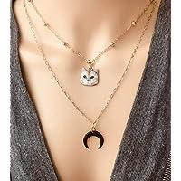 Collier chaton doré, pendentif chat doré chat mignon bijou femme, collier lune, collier minimaliste