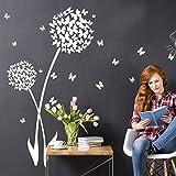 Grandora W5464 Wandtattoo Wandaufkleber 2 Pusteblumen + Schmetterlinge Wohnzimmer Flur Kinderzimmer weiß (BxH) 58 x 106 cm