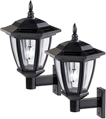 Luminea Solar Wandleuchte: Solar-LED Außen-Wand-Leuchten, weißes Licht, 25 Lumen, 2er-Set...