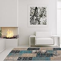 Lalee Teppich Hochwertig Wohnzimmer Cocoon Handgefertigt Patchwork Blau  Beige Braun, Größe In Cm:120