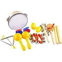 Conjunto de instrumentos musicales para niños de aGreatLife – Conjunto inicial de percusión Conjunto de banda de 9 intérpretes para desarrollar talentos musicales
