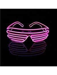 Lerway Neón El alambre LED Luz Obturador Moda Divertido Gafas Marco Negro+ Control de Voz (Rosa)