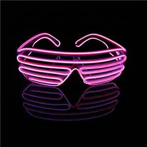 Lerway Luce El neon Filo LED Fino dell'otturatore Moda divertente Occhiali + controllo vocale per Natale Costumi Bar Compleanno Festa (rosa)
