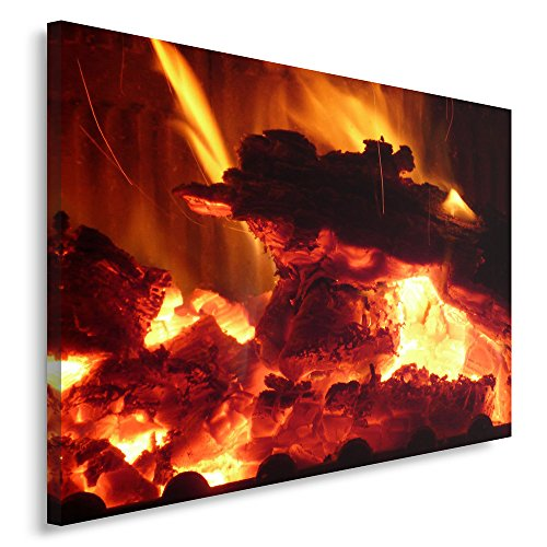 Feeby. Wandbild - 1 Teilig - 50x70 cm, Leinwand Bild Leinwandbilder Bilder Wandbilder Kunstdruck, FEUER, NATUR, ROT