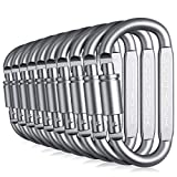 ECOTRONIK Aluminum Locking Carabiner Set: Premium 10-Pack Lightweight, Heavy-Duty Carabiner D Shaped Keychain Clips For Camping, Hiking, Keychains, Safety, Backpacking/Must-Have Wiregate Carabiners