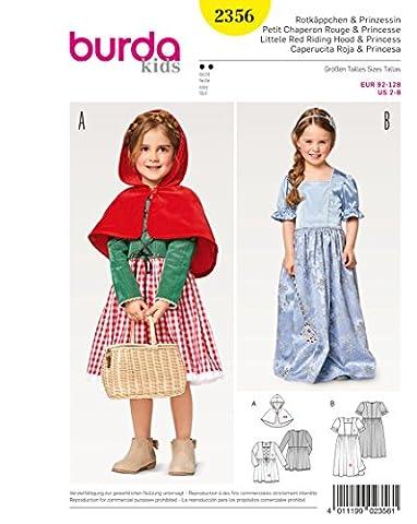 Burda 2356 Schnittmuster Kostüm Fasching Karneval Rotkäppchen & Prinzessin (Kids, Gr. 92 – 128) Level 2 (2016 Plus Size Kostüme)