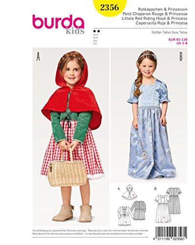 Burda 2356 Schnittmuster Kostüm Fasching Karneval Rotkäppchen & Prinzessin (Kids, Gr. 92 – 128) Level 2 (Burda Muster Kostüm)