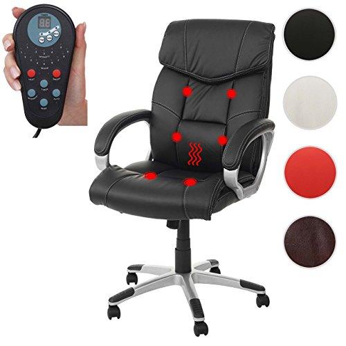 Massage-Bürostuhl HWC-A71, Drehstuhl Chefsessel, Heizfunktion Massagefunktion Kunstleder ~ schwarz