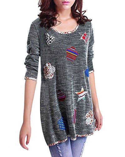 iHAIPI - Damen Neue Mode Rundhalsausschnitt Langarm Graffiti Hemdbluse grundiert Frauen weiblich Pullover (2XL, Grau und (Armee Weibliche Kostüme)