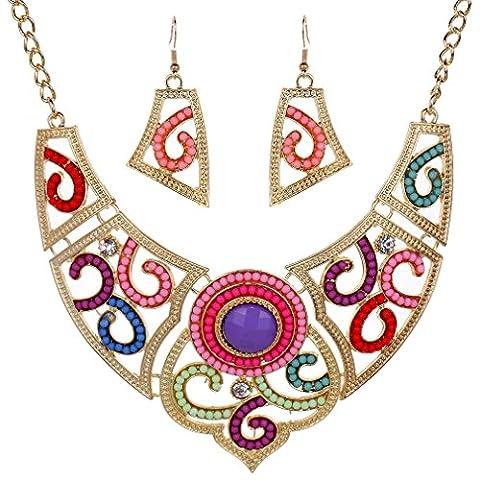 Yazilind elegant perles creuses strass colores Collier Bib Plaque collier boucles d'oreilles de bijoux