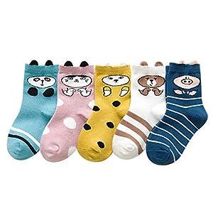 RUOHAN Kinder Socken 5 Paar Kindersocken Baumwolle Herbst Kindersocken Cartoon Tiere Baumwollsocken