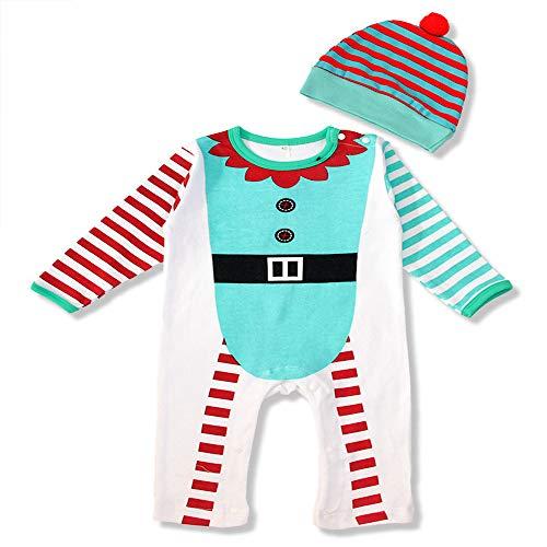 Xingxiu Bambini Set di Vestiti per Costumi di Natale Just Love Christmas Coverall for Baby & Infant con Il Cappello di Babbo Natale Abbinato Festival Performance Compleanno Halloween Servizio