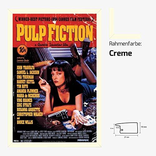 Kunstdruck Poster - Pulp Fiction Uma Thurman Samuel L Jackson John Travolta Bruce Willis 61 x 91,50 cm mit MDF-Bilderrahmen Pisa & Acrylglas reflexfrei, viele Farben zur Auswahl, hier Creme (Samuel Creme)