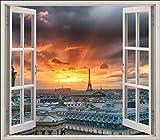 Wandtattoo Fenster Irre L Auge La Tour Effeil Hochschrank OEM Nr. 5448, 60x52cm