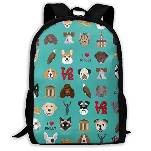 Philadelphia Hunde - Hunde und Philly Print - Turquoise_722 Reisen Laptop Rucksack, Extra Large College School Student Rucksack für Männer und Frauen , Klassischer Rucksack