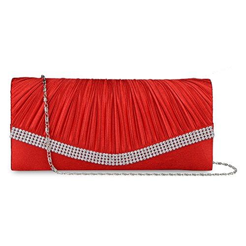 Lifewish Womens Falte Kristall Umschlag Clutch Purses verzierte Satin Braut Hochzeit Tasche Handtasche?Rot? (Rote Satin-abend-tasche)