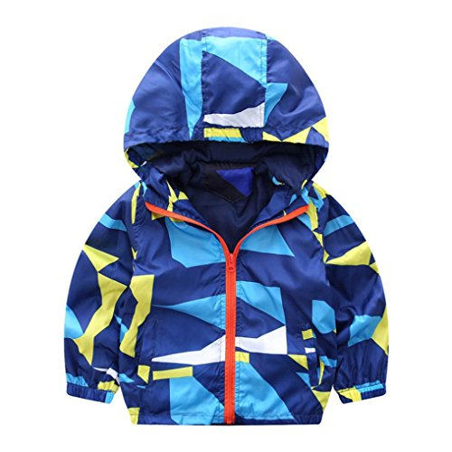 VENMO Mädchen Jungen Geometrisch Kapuzen Zip Mantel Manteljacke Dicke Kaputzenpullover warme Kleidung Jacke Mantel Trenchcoat Sweatjacke Kinderjacken kleidung Outerwear Wintermantel (Size:24M, Blue)