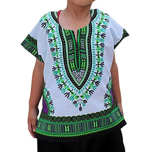 Obestseller Jungenbekleidung,Jungen Mädchen Kinder Baby Unisex helle afrikanische Farbe Kind T Shirt Tee Tops Ethnische Windbluse,Sommerkleidung,Unisex -