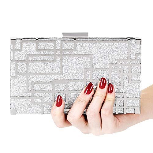 Women's Square Acryl geometrisches Muster Dinner Bag Metallkette Schulter Messenger Bag Wallet Hochzeitsgeschenk Braut Brautjungfer Kleid Kupplung Größe: 19 * 4 * 12cm Mode ( Farbe : Silver (Großhandel Womens Kleider)