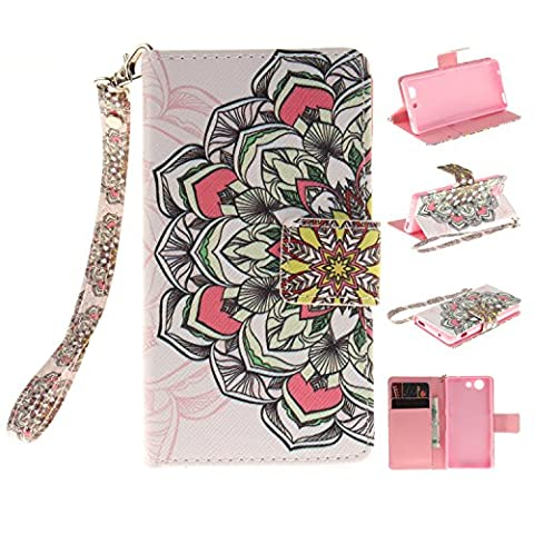 Sony Xperia Z3 Mini /Compact Case,Sony Xperia Z3 Mini /Compact Cover,Wallet Case for Sony Xperia Z3 Mini /Compact,Cozy Hut Fashion Beautiful Art Painted Pattern Flip PU Leather Fold Wallet Pouch Case Premium Leather Wallet Flip Case with Stand Credit Card ID Holders Case Cover for Sony Xperia Z3 Mini /Compact - petal