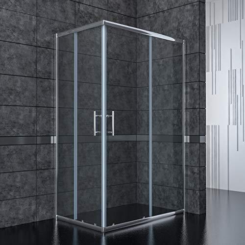 120x90cm Eckeinstieg Duschkabine Sicherheitsglas Schiebetür Eckdusche Duschabtrennung Duschschiebetür Glas