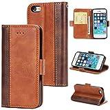KAMILEO iPhone 5 Hülle Leder Wallet Tasche Flip Case Handyhülle Schutzhülle