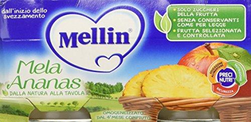 Mellin omogeneizzato di frutta mela ananas 100% naturale - 24 vasetti da 100 gr