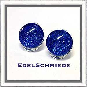 Ohrclips 925/- mit Glas - Cabochon blau Glitter 12 mm
