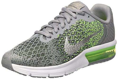 Nike Air Max Sequent 2 Gs, Scarpe da Ginnastica Bambino Grigio (Stealth/Mtlc Silver/Electric Green/Anthracite/White/Volt)