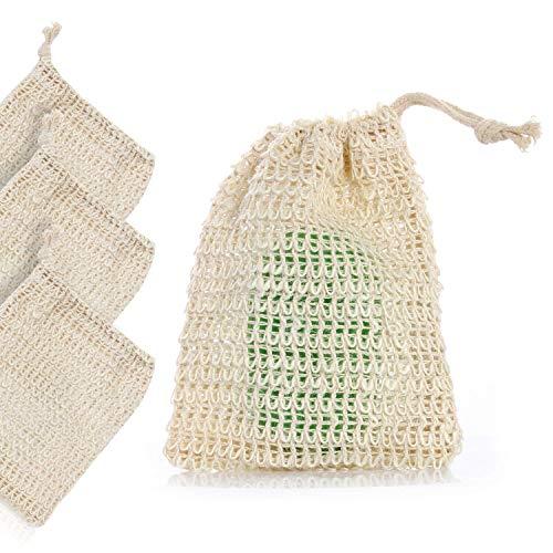 Silverback 3x Seifensäckchen Seifennetz Sisal Seifenbeutel - Natur Peeling Massage Sisalsäckchen - Seifenschwamm Für Seifenreste -
