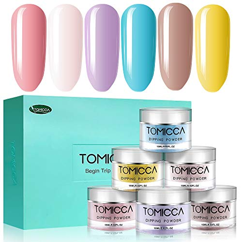 TOMICCA Dipping Powder Rainbow Color Set of 6 Nail Acrylic powder 0 5oz  Summer Color powder for dip system