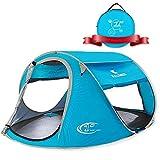 ZOMAKE Zelt Pop Up Strandmuschel, Extra Leicht Strandzelt mit Boden UV 80 Sonnenschutz - Familie Tragbares Strand-Zelt - XXL Beach Tent for Baby ( Hellblau )