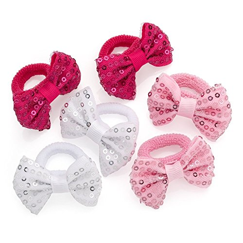 3 Pairs Pink Tones and White Sequin Ribbon Bow Motif Hair Ponios Elastics Bobbles Bands by Pritties Accessories by Pritties Accessories