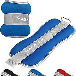 Movit® Juego de 2 Neopreno de Neopreno de Peso Pro con Tejido de Rizo en el Interior y Material Reflector, 2 x 2,0 kg en Azul, Pesas para muñecas y Tobillos