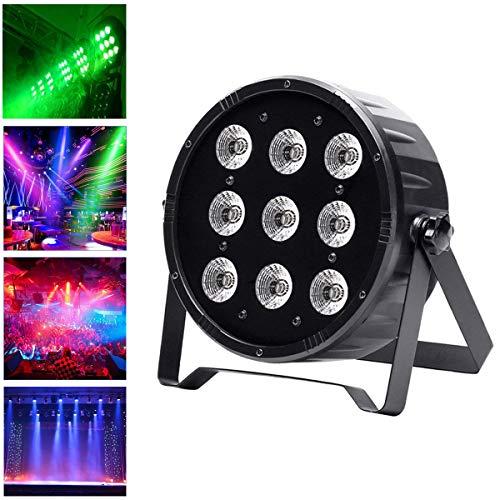 UKing Par LED Scheinwerfer, Bühnenlicht Lichteffekt Partylicht Bühnenbeleuchtung mit 9 LEDs RGBW DMX512 Lichter für DJ Disco Bar Weihnachten Halloween Party
