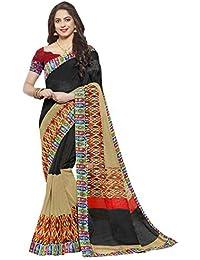 Ishin Jute Silk Black & Beige Printed With Lace Party Wear Wedding Wear Casual Wear Festive Wear New Collection...