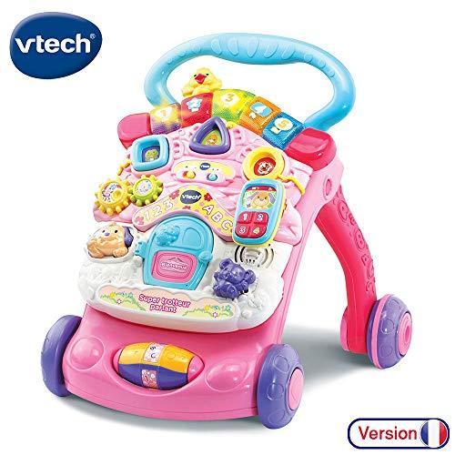 VTech - Super Trotteur Parlant 2 en 1 Rose - Trotteur interactif pour apprendre à marcher