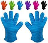 Belmalia 2 guanti da forno in silicone per cucina e griglia, kit, coppia, presine, guanti da forno Azzurro Blu