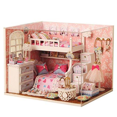 Qearly Mode Holz Mini Haus Schlafzimmer Miniatur Puppenhaus Moebel DIY Dollhouse Kit Mit Abdeckung und LED Licht-Rosa