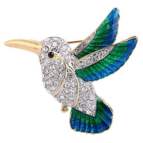 Ever Faith Österreichische Kristall Grün w/blau Emaille fliegen klein Vogel Brosche Pin Klar Gold-Ton (Vogel Brosche Pin)