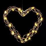 LED Herz Kranz Lichterkranz Türkranz Lichtherz Fensterkranz 35cm warmes Licht